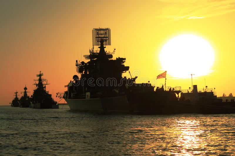 Battle ships stock image