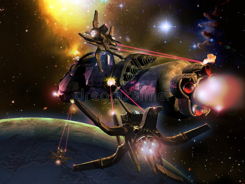 Battle in space. Battleship in space, close to a planet near a colored nebula royalty free illustration