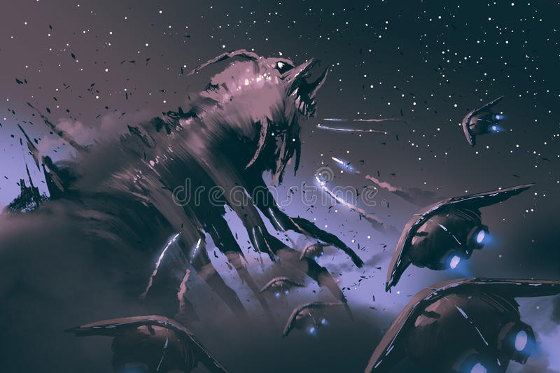 Battle between spaceships and insect creature. Sci-fi concept illustration painting vector illustration