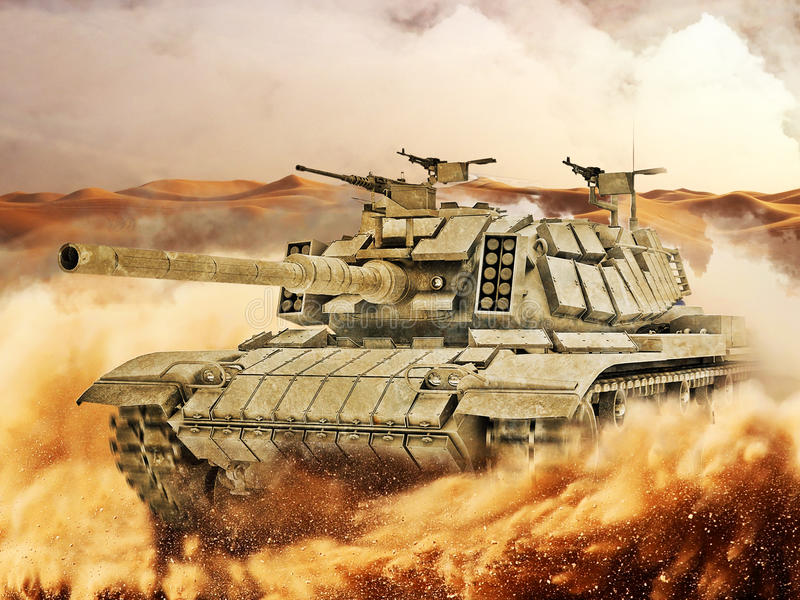 Battle Tank moves in desert royalty free stock image