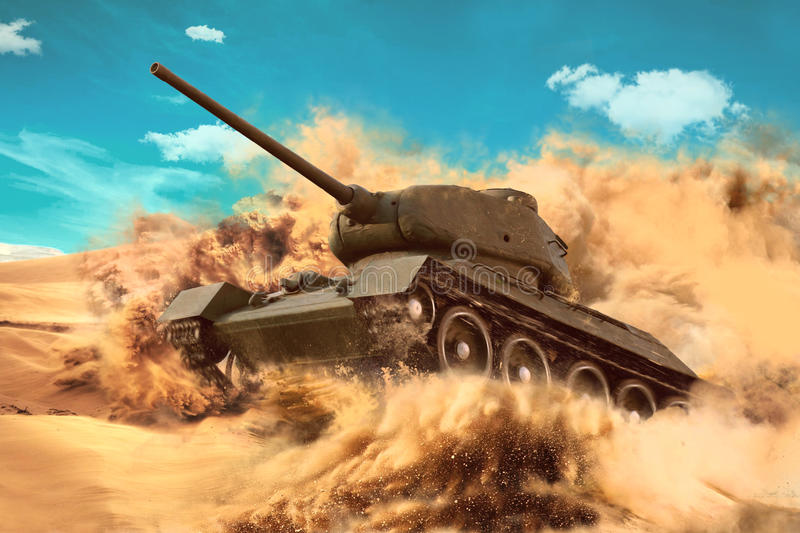 Battle Tank is moving in the desert. Mission in the hot sands royalty free stock photos