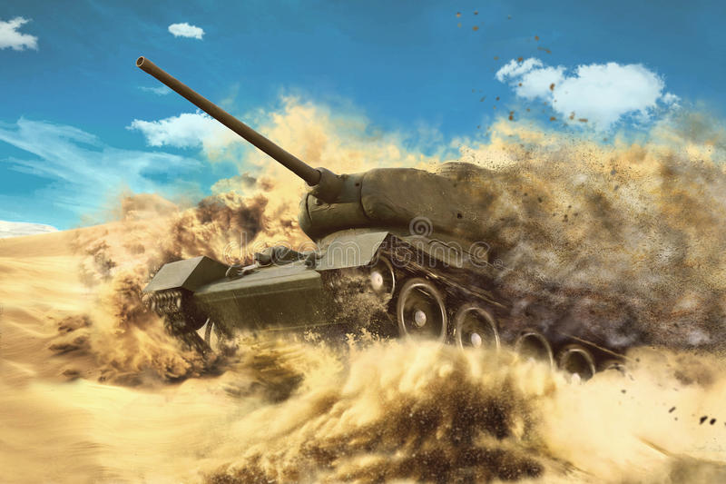 Battle Tank is moving in the desert. Mission in the hot sands royalty free stock image