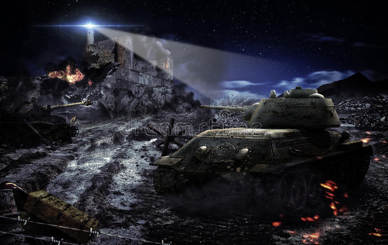 Battle tank scene vector illustration