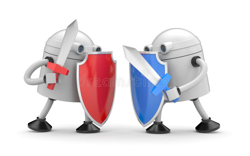 The battle of two robots. 3d illustration stock illustration