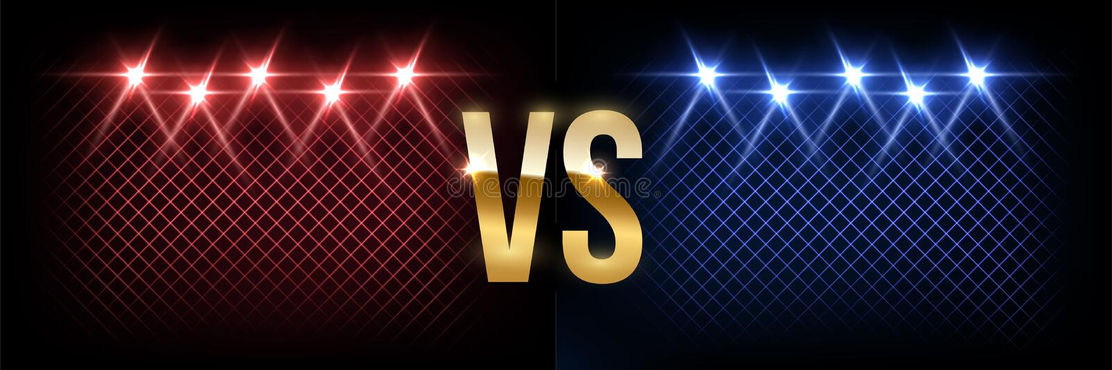 Battle vector banner concept. Girls and boys competition illustration with glowing versus symbol and spotlights. Night vector illustration