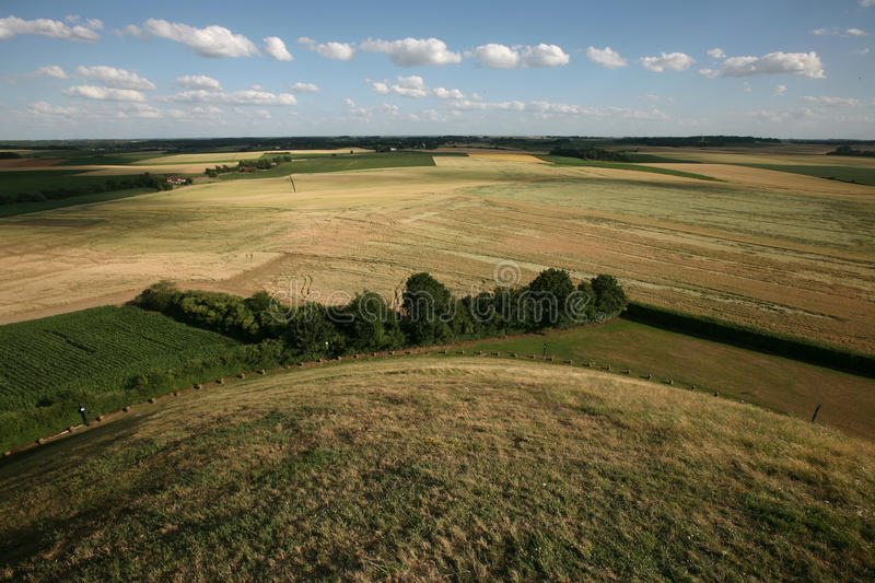 Battlefield of the Battle of Waterloo (1815) near Brussels, Belg. Ium, pictured from the top of the Lion's Mound royalty free stock image