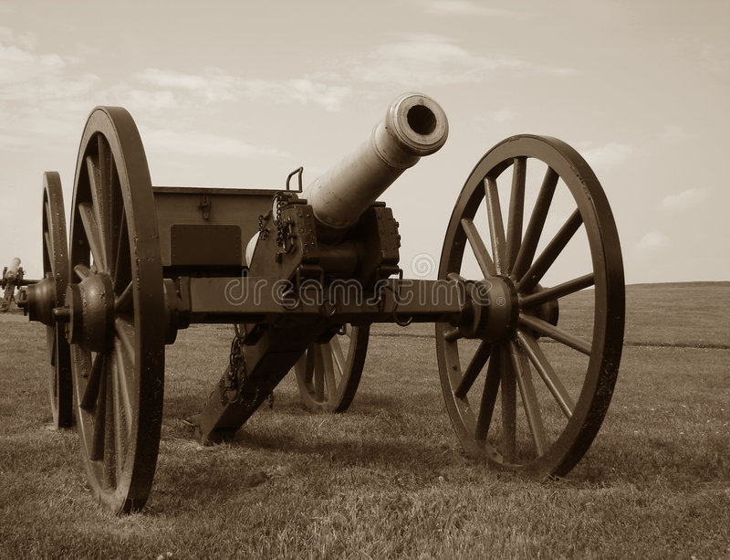 battlefield cannon civil war 免版税库存图片