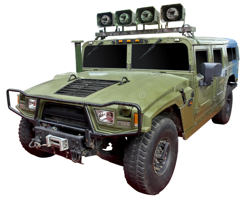 Battlefield propaganda vehicle. Special battlefield propaganda 4x4 vehicle isolated on white royalty free stock image