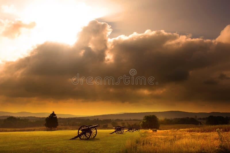 Battlefield Sunrise. Sunrise over a row of cannon at the Antietam Civil War Battlefield at Sharpsburg, Maryland USA royalty free stock image