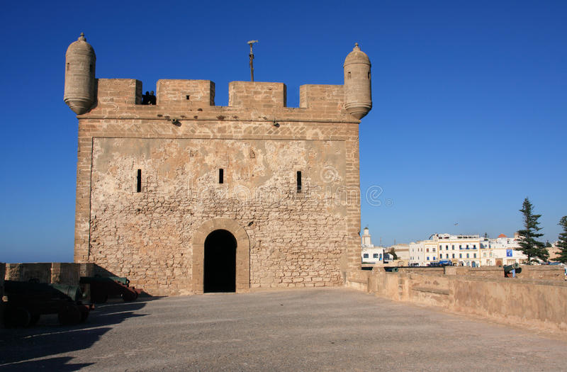 Battlement do forte de Marrocos Essaouira fotografia de stock royalty free