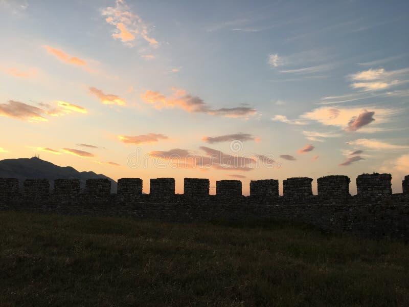 Battlements του Castle Rozafa, Αλβανία στοκ εικόνες