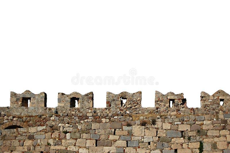 Battlements isolados da parede do castelo do castelo de Kos foto de stock royalty free