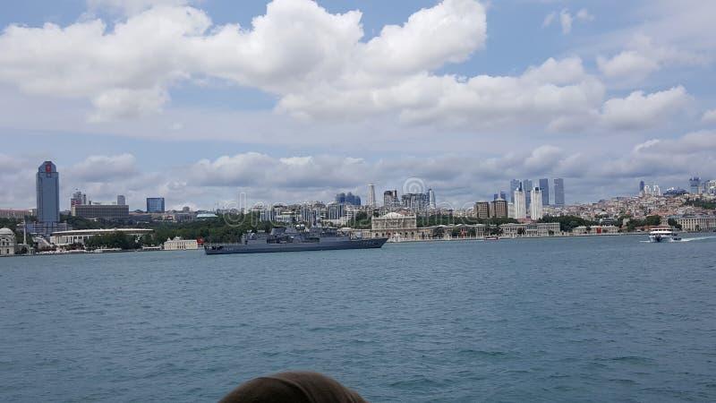 Battleship at Bosphorus royalty free stock images