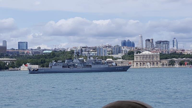 Battleship at Bosphorus stock photography