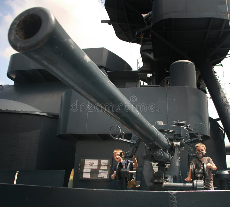 Battleship Gunners royalty free stock photo