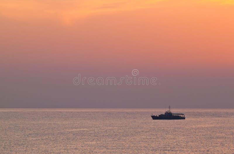 Battleship over the sea royalty free stock photo