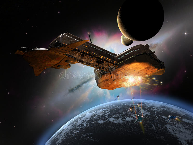 Battleship in space. Close to a planet near a colored nebula, several spaceships attack a big space cargo vector illustration