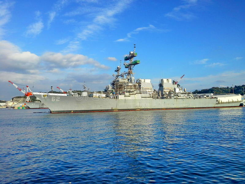Battleship in Yokosuka base. The battleships stand by in Yokosuka base Kanagawa stock photo
