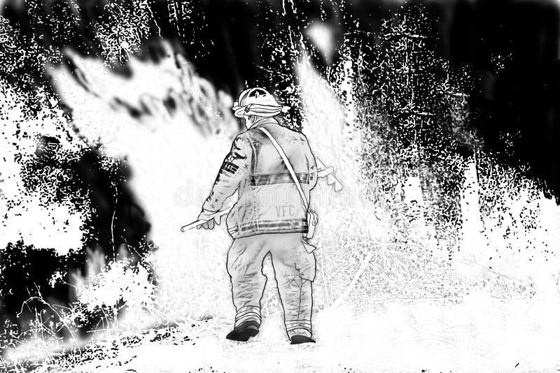 Download Battling a Fire stock illustration. Image of fire, brush - 5456178