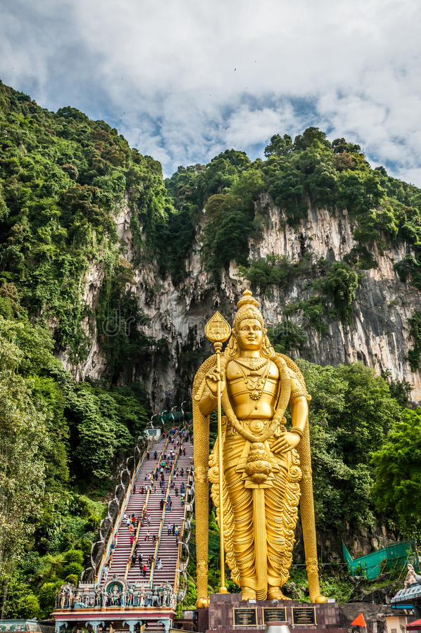 Batu Caves. The Batu Caves and the colossal statue of Lord Murugan in Kuala Lumpur, Malaysia royalty free stock image