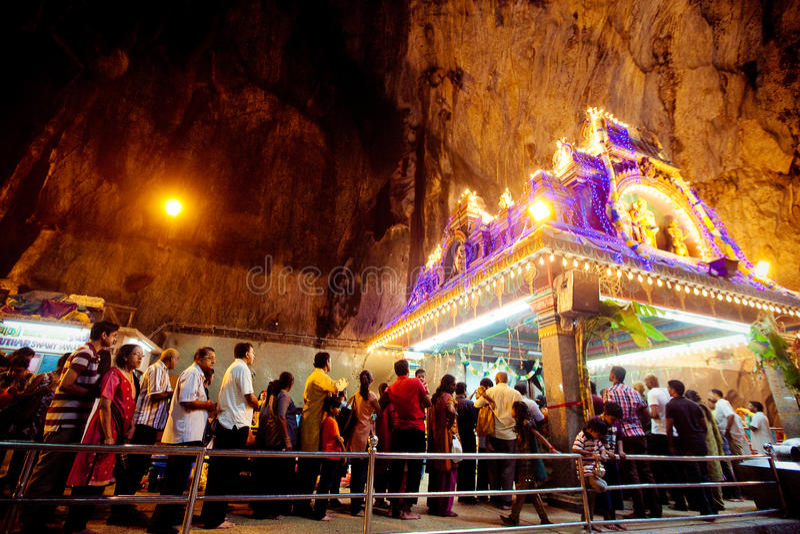 BATU CAVES, MALAYSIA - JAN 18 2014 : Thaipusam at Batu Caves temple, Malaysia on January 18, 2014. Thaipusam is a Hindu festival stock images