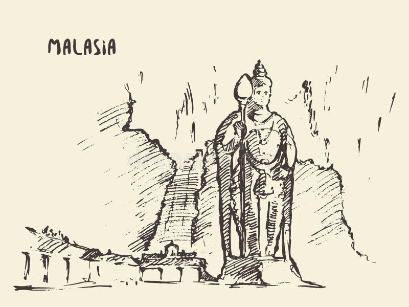 Batu Caves statue Malaysia drawn sketch. stock illustration