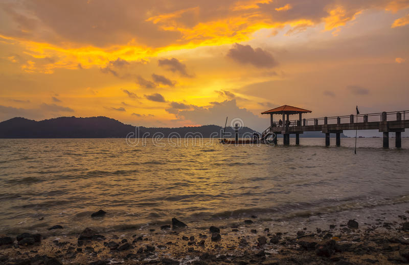 Batu Musang Jetty Penang Malaysia. Batu Musang Jetty at evening , before the sun down and leave it stock photo