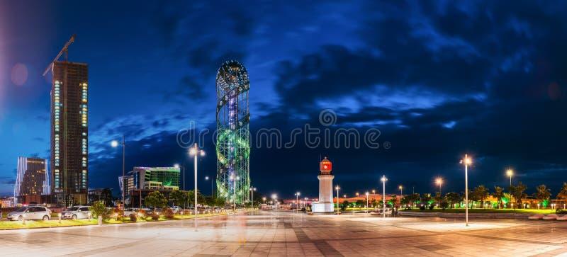 Batumi, Adjara, Georgië Het Panorama van de avondnacht van in aanbouw royalty-vrije stock afbeelding