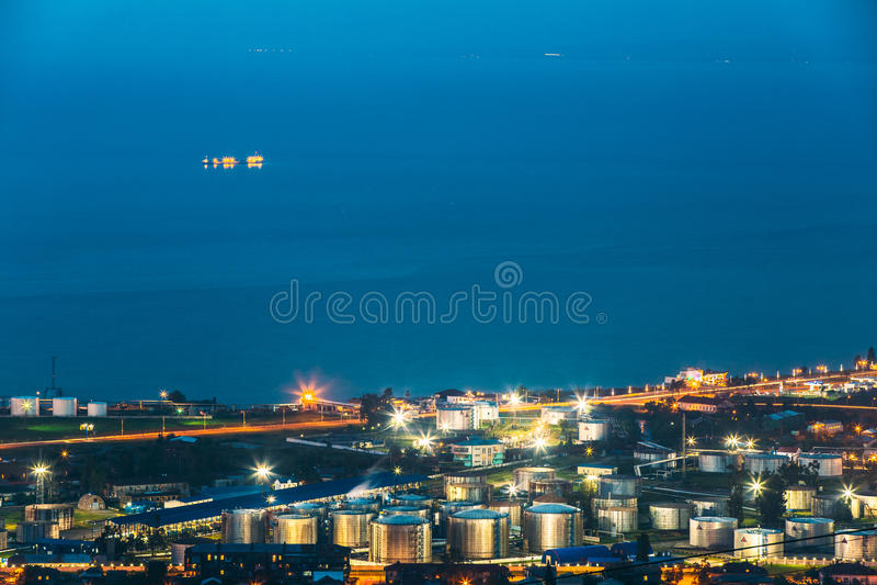Batumi, Adjara, Georgia. Aerial View Of Cityscape At Evening. Bl. Batumi, Adjara, Georgia - May 27, 2016: Aerial View Of Cityscape At Evening. Black Sea, Port royalty free stock image