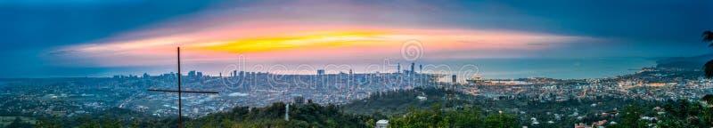Batumi Adjara, Georgia Panorama flyg- sikt av stads- Cityscape arkivfoto