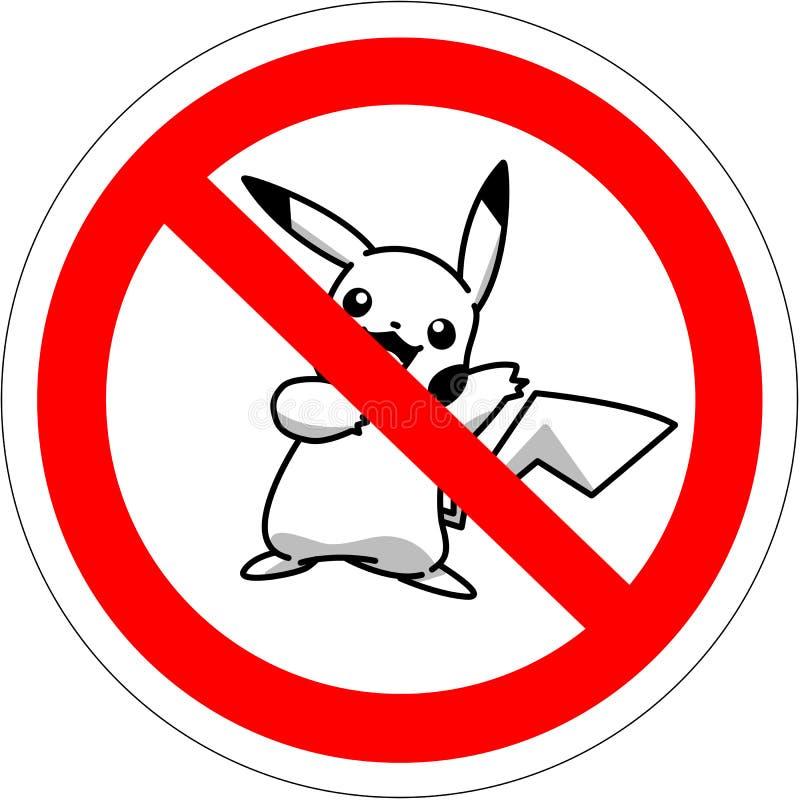BATUMI, GEORGIA - 14 de julio de 2016 muestra prohibitoria para los jugadores en pokemon aumentado del juego de la realidad ilustración del vector