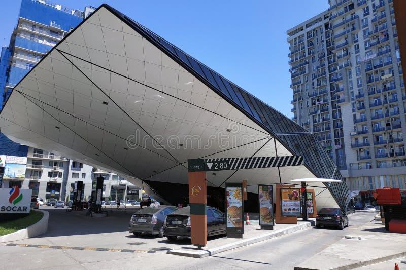 McDonalds futuristic glass building in Batumi city. stock images