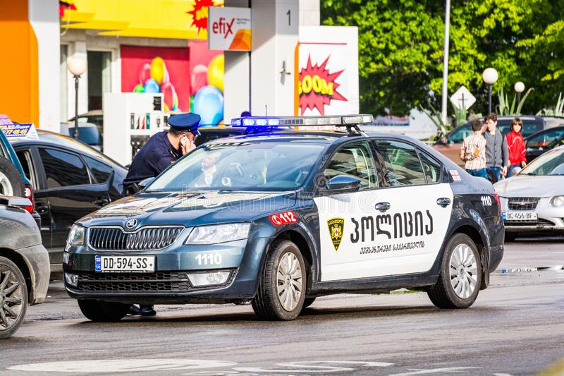 Batumi, Georgia - May 7, 2017. Georgian police on street with Skoda automobile stock image