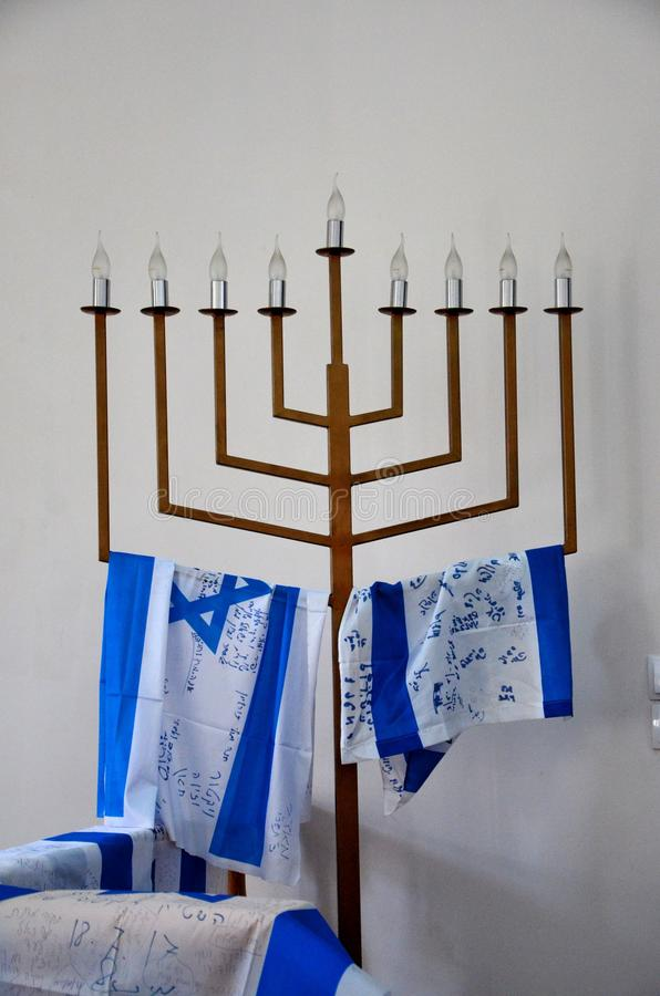 Jewish menorah hanukkah candle stand with Israel flags Batumi Georgia stock photography