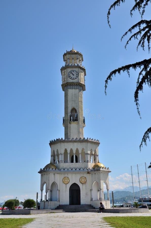 Chacha clock tower fountain by Black Sea coast Batumi Georgia stock images