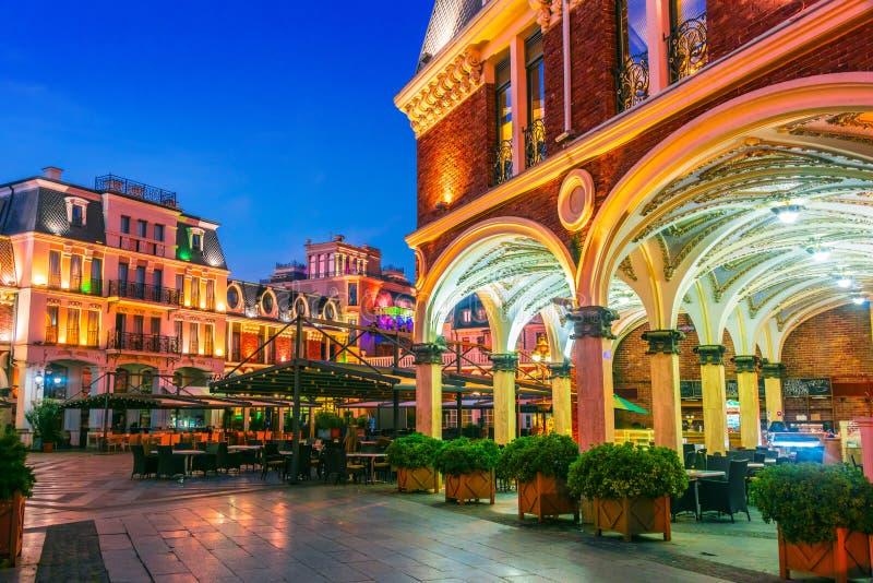 BATUMI, GEORGIA - OCT 28, 2018: Architecture of Batumi Piazza in the center of Batumi, Georgia by night.  stock photography