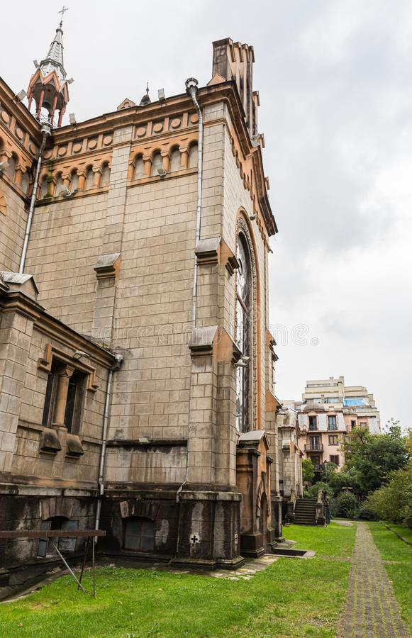 The side part of the Holy Mother Virgin Nativity Cathedral  in Batumi city - the capital of Adjara in Georgia stock image