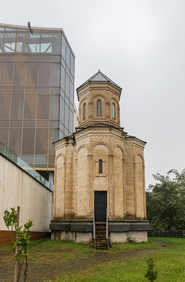 View on a rainy day of the old Christian church located near the building of Argo Cable Car Top Station in the capital of Adjara stock images
