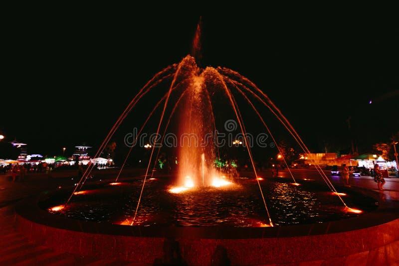 BATUMI, GEORGIA - September 11, 2018: illuminated Batumi Boulevard Dancing Fountain royalty free stock image