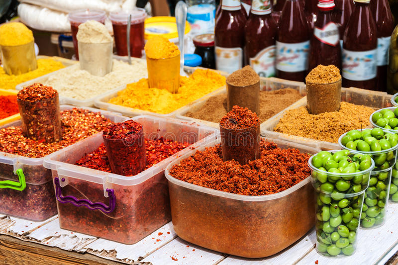 Batumi, Georgia. Various spices from the street market. With various food and drinks. Food market in Georgia stock photography