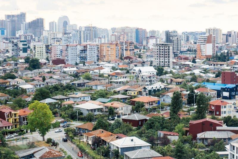 Batumi Gruzja Panorama miasto na starym i nowym nowożytnym Batumi Domy, mieszkania, czynsz, budowa obraz royalty free