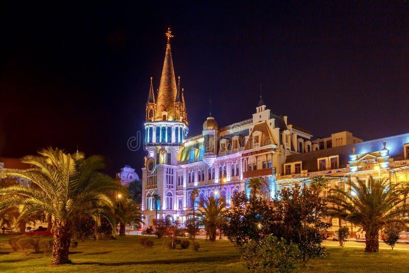Batumi Quadrado de Europa na noite foto de stock