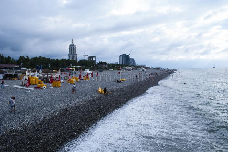 Beach of Black Sea from Batumi, Georgia royalty free stock photo