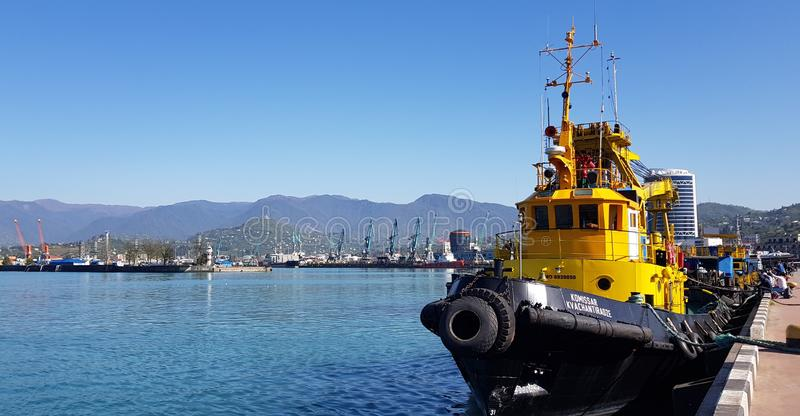 Tugboats awaiting ships. Batumi toilers of the port tugboats intended for towing and canting other vessels and floating structures are used on all types of royalty free stock image