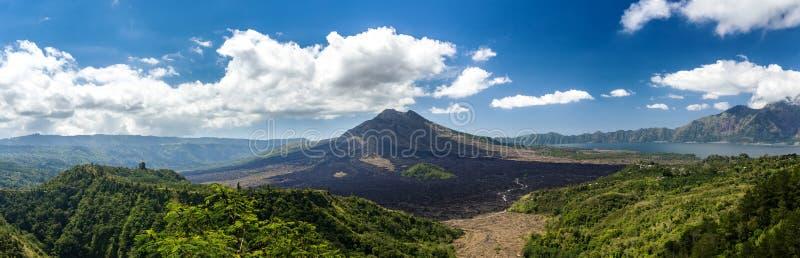 Batur火山和阿贡山,巴厘岛 免版税库存照片
