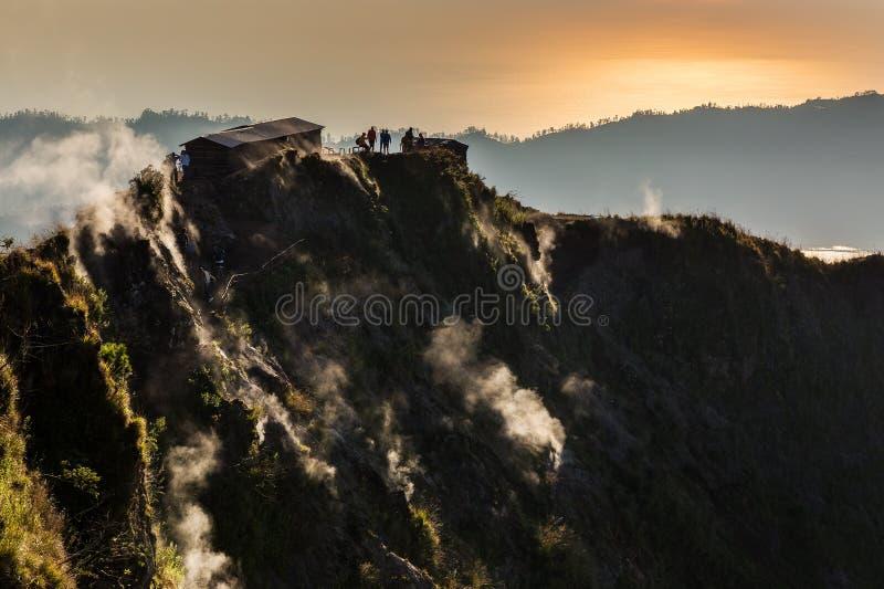 Batur fumeux de bâti de volcan image libre de droits
