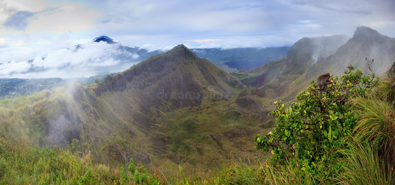 Batur volcano crater panorama stock photo