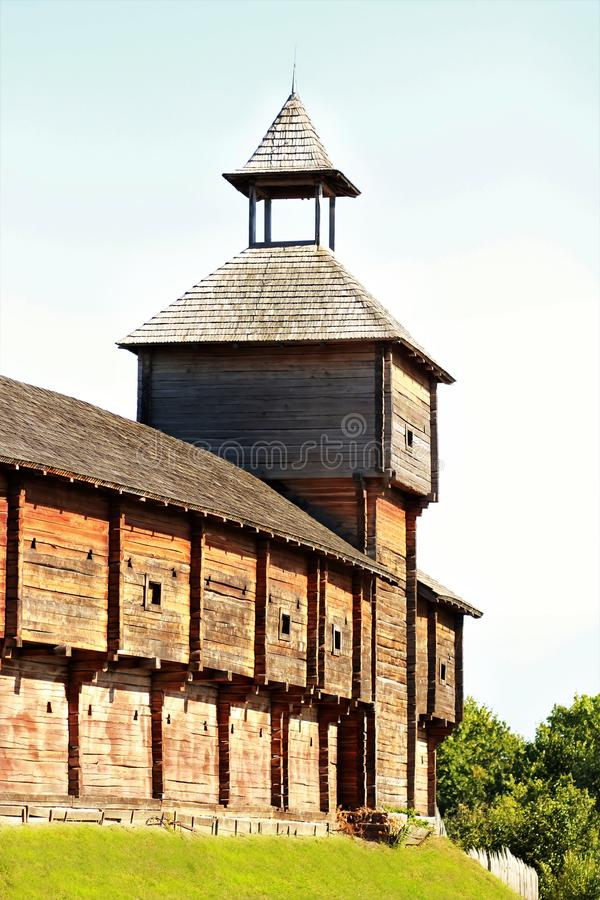 Ancient wooden Citadel of Baturin Fortress, fortification architecture. Chernihiv region royalty free stock photos