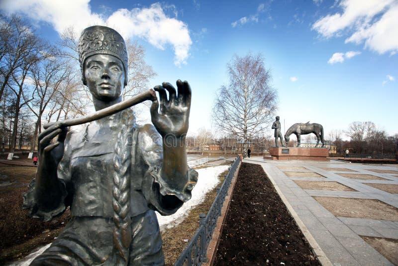 Batyushkovmonument in Slavische Vologda, traditionele Russisch, royalty-vrije stock foto