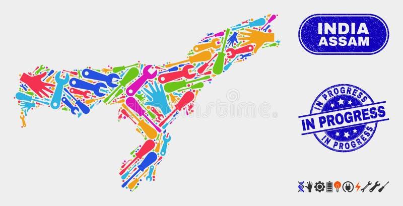 Bau-Assam-Staats-Karte und Schmutz-laufende Stempelsiegel stock abbildung